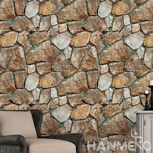 HANMERO Durable Hotels Bathroom 3D Textured Wallpaper PVC 0.53 * 10M Stone Pattern Wallcovering Photo Quality