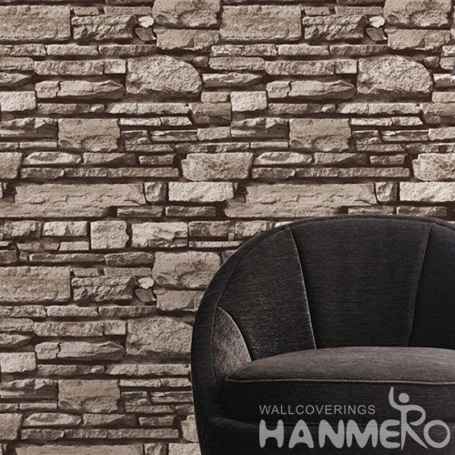 HANMERO Modern Removable Faux Brick Wallpaper 0.53 * 10M PVC Wallcovering for Hotel Office Wall Decor from China