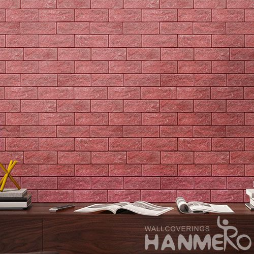 HANMERO New Arrival 0.53 * 10M PVC Red Brick Wallpaper for Home Interior Decor Factory Sell Directly Chinese Wholesaler