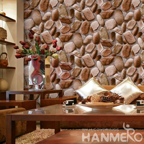 HANMERO PVC 0.53 * 10M Strippable Stone 3D Wallpaper for Sale Living room Interior Wall Decoration Wallcovering Supplier