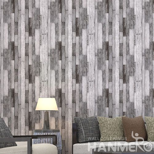 HANMERO PVC 3D Grey Wood Pattern Removable Eco-friendly PVC Wallpaper Chinese Exporter for Interior Home Decor
