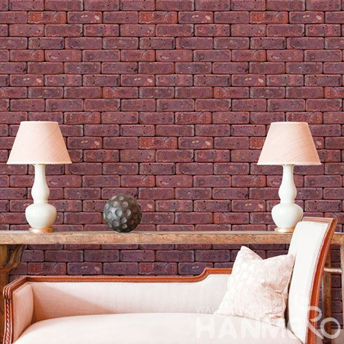HANMERO Modern Classic 3D Stone Wallcoverins  PVC 0.53 * 10M Red Color Wallpaper Wholesaler with Competitive Prices