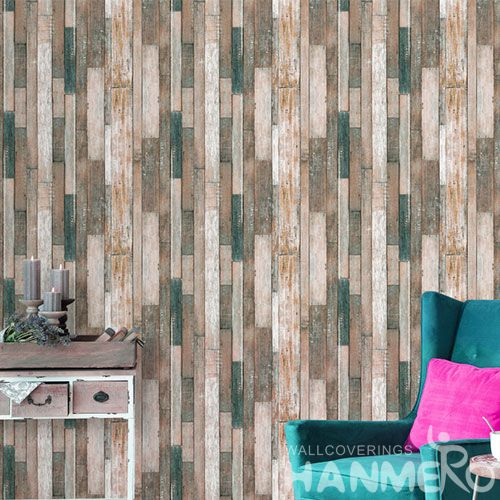 HANMERO 3D 0.53 * 10M PVC Natural Material Wooden Wallpaper for Home Wallcovering Distributors Hot Sex Cheap Prices