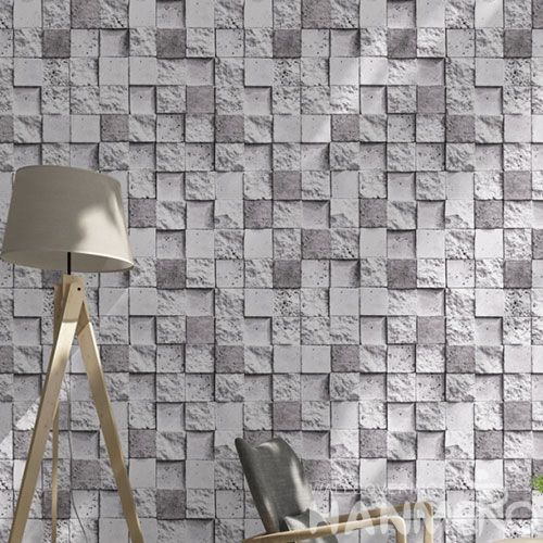 HANMERO Affordable Hot Sex PVC 0.53 * 10M 3D Stone Grey Wallpaper Household Room Wallcovering from Chinese Dealer