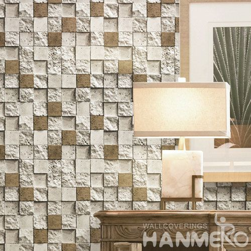 HANMERO PVC Strippable 0.53 * 10M 3D Stone Wallpaper Modern Style for Restaurants Kitchen Wall Decor Best Selling