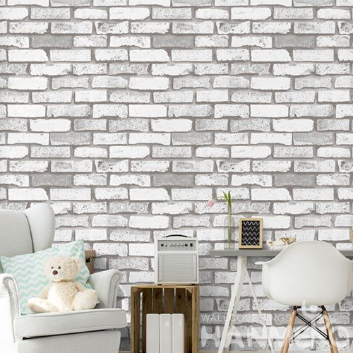 HANMERO Best-selling Affordable 0.53 * 10M 3D Brick Retro Design Wallpaper Grey Color for TV Bachground Wall Decor