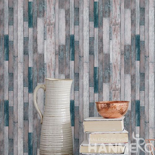HANMERO Modern 3D Wood Design PVC Wallpaper Household Room Wallcovering for Wholesale Prices Chinese Factory