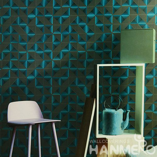 HANMERO Eco-friendly Vinyl-coated PVC Blue Germetric Decoration Wallcovering Bathroom Kitchen Wall Decor 0.53 * 10M Wallpaper