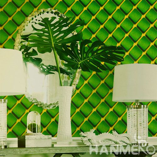 HANMERO Eco-friendly PVC Cheap Green Wallpaper 0.53 * 10M Fashion Beautiful Living Room Decorating Wallcovering Latest