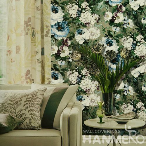 HANMERO PVC Beautiful Floral Luxury Design 0.53 * 10M Buy Vinyl Wallpaper Chinese Home Decor Wallcovering Seller