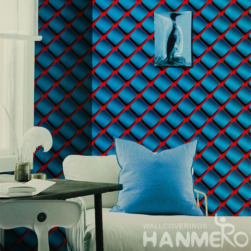 HANMERO PVC Strippable Modern Germetric Blue Wallpaper Patterned Chinese Wallcovering Exporter Wholesale Prices