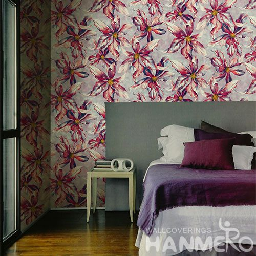 HANMERO Vinyl-coated Fashion Flowers Design Wallcovering PVC 0.53 * 10M / Roll Decorative Wallpaper Lowest Price