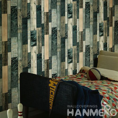 HANMERO Vinyl Sofa TV Background Decor Wallpaper 3D Wood Pattern 0.53 * 10M PVC Modern Grey Wallcovering China