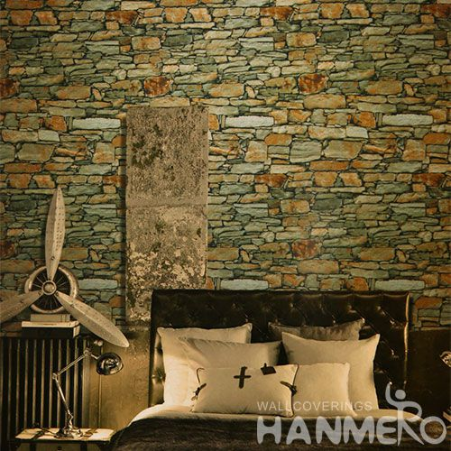 HANMERO Modern Style PVC 0.53 * 10M / Roll 3D Stone Textured Wallpaper Online Chinese Wallcovering Manufacturer