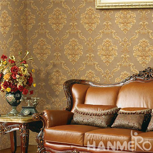 HANMERO Modern Embossed Flowers Design PVC Wallpaper 0.53 * 10m / Roll Room Chinese Wallcovering Wholesaler China