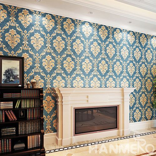 HANMERO Classic Damask Living Room PVC Wallpaper 0.53 * 10M / Roll Wallcovering Exported for Wall Decoration