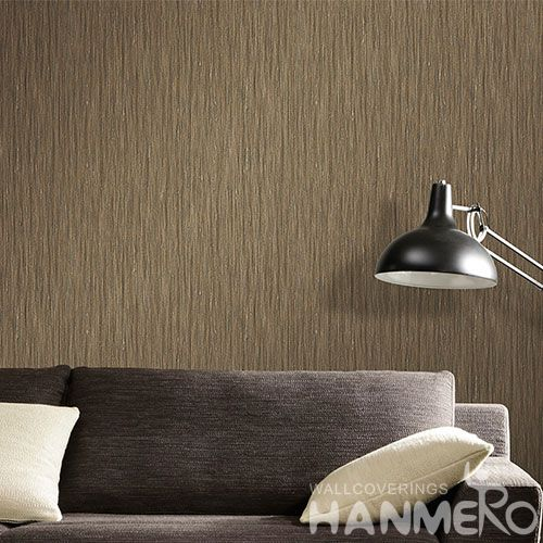 HANMERO Brown Color Simple Pattern 0.53 * 10M / Roll Natural PVC Wallpaper for Interior Home Decoration Wallcovering Agents