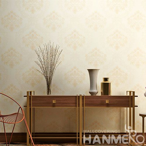 HANMERO Chinese Wallcovering Supplier Modern Beige Color 0.53 * 10M PVC Wallpaper for Living Room Wall Decor