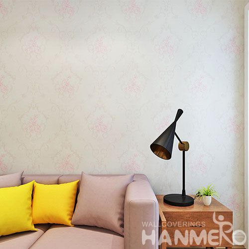 HANMERO Modern Style 0.53 * 10M / Roll Pink Flowers PVC Wallpaper Household Room Chinese Wallcovering  Wholesale Prices