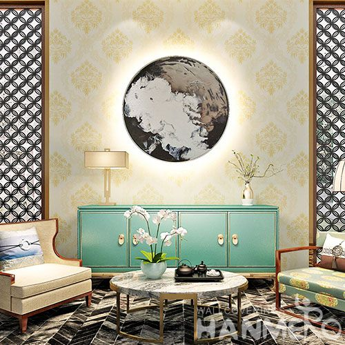 HANMERO Newest Eco-friendly PVC Wallpaper Natural Material 0.53 * 10M / Roll from Chinese Factory Embossed Technology