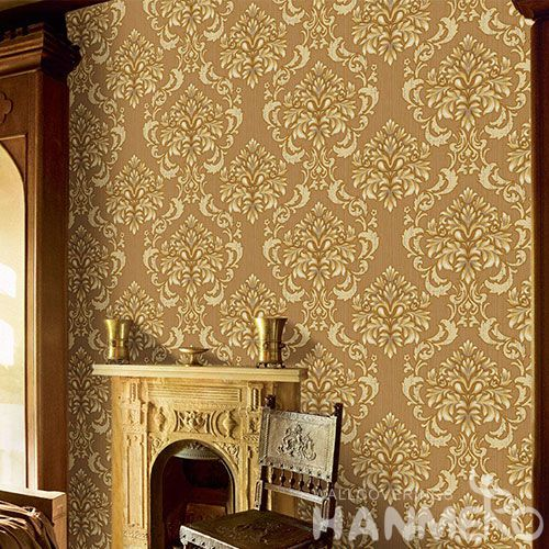 HANMERO Latest Removable Chinese Supplier 0.53 * 10M PVC Wallpaper Brown Color for Home Decoration Floral Designs