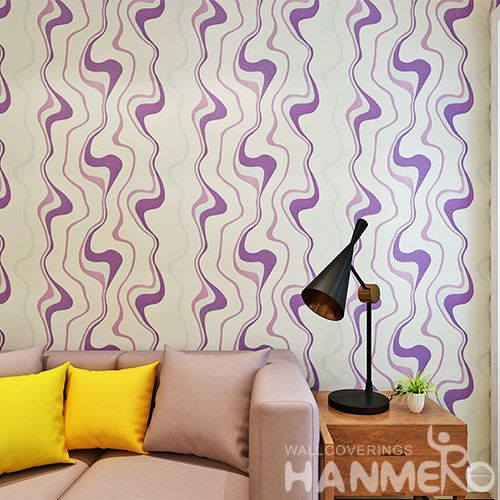 HANMERO Modern Chinese Factory Wallcovering 0.53 * 10M / Roll PVC Purple Color Wallpaper Wall Decorative Household Office