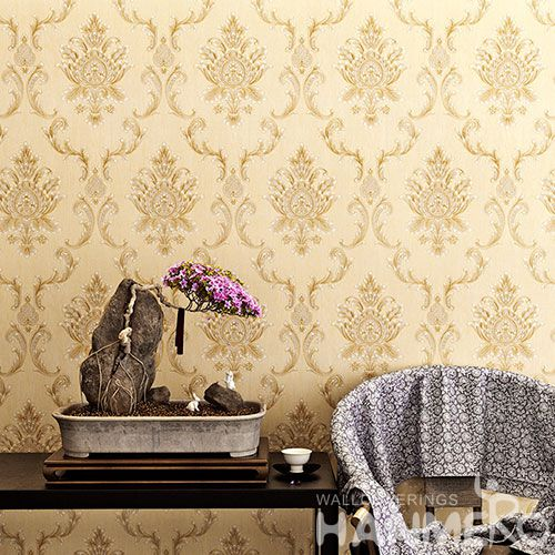 HANMERO Beige Damask Classic Pattern High Quality Bed Room Natural PVC Wallpaper 0.53 * 10M Chinese Wallcovering Factory