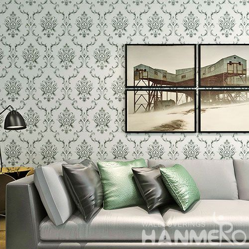 HANMERO Hot Selling 0.53 * 10m PVC Wallpaper Classic Damask Pattern Home Wallcovering for Wall Vender from Hubei China