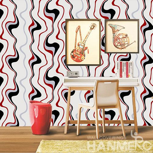 HANMERO Modern Style Nature Material PVC Red Color Wallcovering 0.53 * 10M / Roll Hallways Lobby Decor Wallpaper