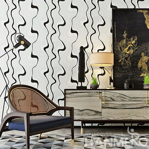 HANMERO Best Selling Black White Color PVC Wallpaper 0.53 * 10m / Roll Wallcovering Interior Wall Designer Chinese Factory