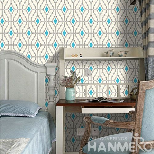 HANMERO Chinese Exporter Germetric Pattern PVC Wallcovering 0.53 * 10M / Roll Lounge Room Decorative Wallpaper Wholesale