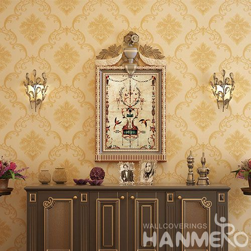 HANMERO Strippable Beige Color Chinese 0.53 * 10M PVC Wallpaper European Classic Style on Sale Factory Sell Directlly