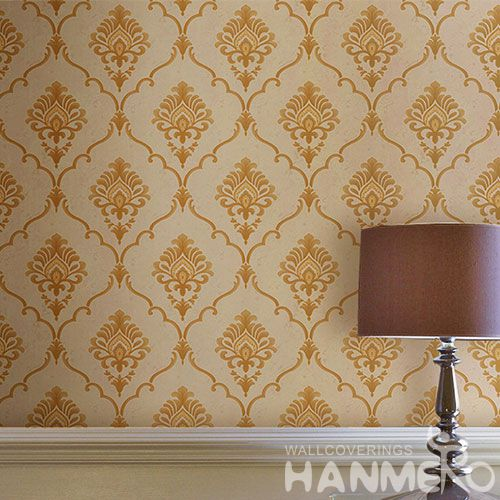 HANMERO Yellow Color PVC Wallpaper 0.53 * 10M Natural Material Chinese Wallcovering Vendor TV Sofa Background Decor