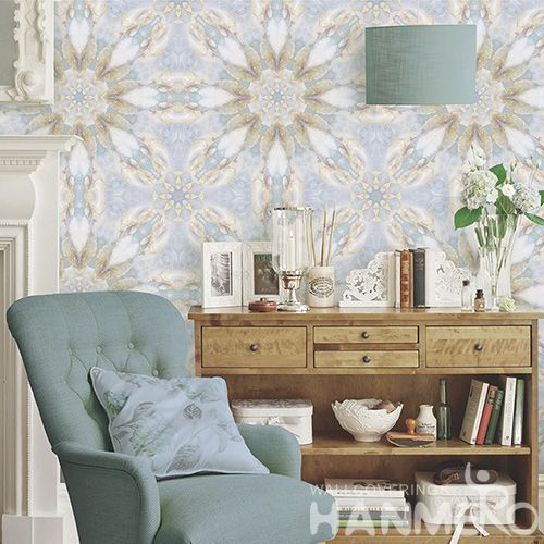 HANMERO Unique Modern Flowers Pattern Wallpaper 0.53 * 10M Non-woven Wallcovering for Sofa Background China Wholesale