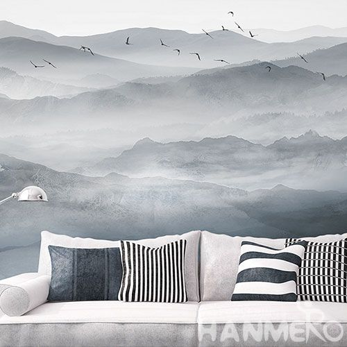 HANMERO Economical Affordable Decorative Home Interior Chinese Landscape Wallpaper for Sofa Background Wall Decor