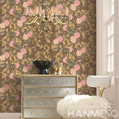 HANMERO Eco-friendly Strippable Home Decoration Wallcovering PVC 1.06M European Style Wallpaper Wholesale Price Beautiful Flower Patterns