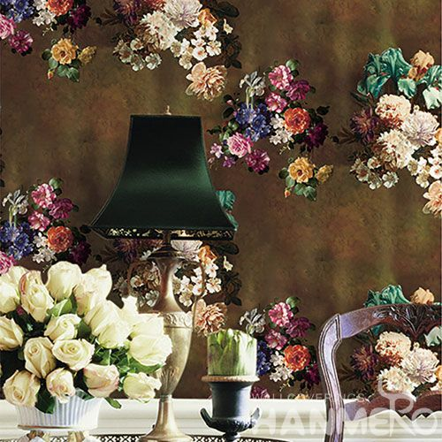 HANMERO Washable Non-woven Colorful Floral 0.53 * 10M Wallcovering Hotels Restaurants Chinese Low Price Wallpaper Supplier European Style