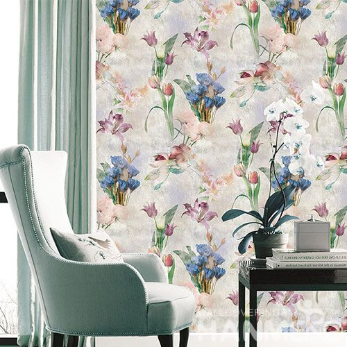 HANMERO Modern Beautiful Colorful Flowers Non-woven Interior Wallpaper Catalogue 0.53 * 10M Luxury Home Decoration Wallcovering from China