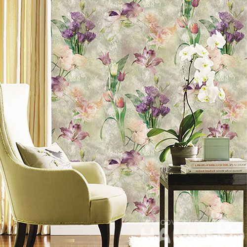 HANMERO Purple Nice Floral Pattern High Quality Bed Room Natural Non-woven Elegant Wallpaper 0.53 * 10M Chinese Wallcovering Factory