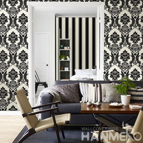 HANMERO Strippable Black Damask Chinese 0.53 * 10M Non-woven Wallpaper Modern Classic Style on Sale Factory Sell Directlly