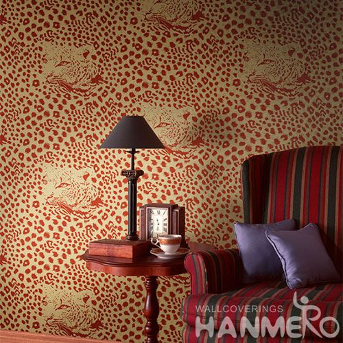 HANMERO Household Living Room Leopard Pattern Non-woven Wallpaper 0.53 * 10M Flocking Hot Sex Wallcovering Chinese Seller Top Grade