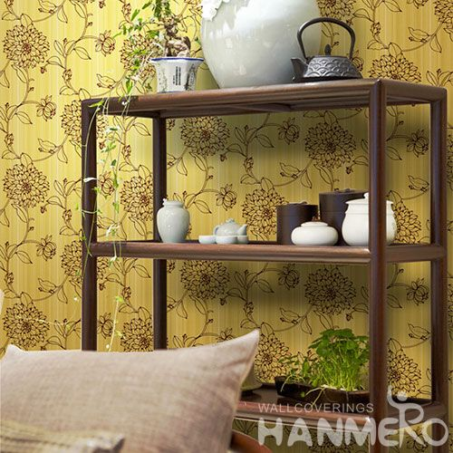 HANMERO Latest Non-woven Yellow Flowers Pattern 0.53 * 10M Wallpaper Modern European Style from Chinese Wallcovering Manufacturer