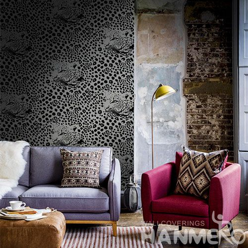 HANMERO Modern Animal Leopard Design Monochrome Flocking Technology Non-woven Wallpaper 0.53 * 10M Room Decoration China Factory