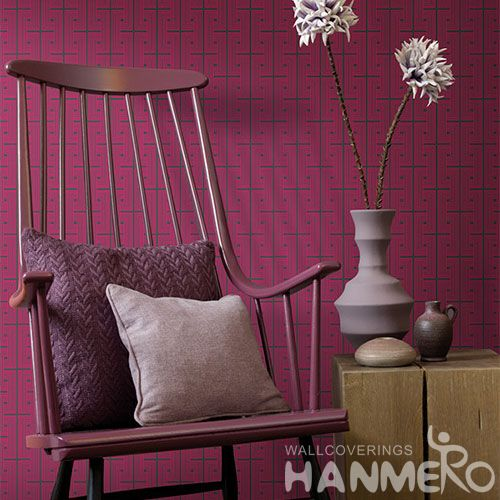HANMERO Red Color Geometric Design Non-woven Wallpaper 0.53 * 10M Nightclub Saloon Wall Decor Chinese New Style