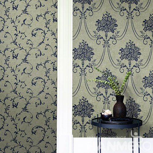 HANMERO Non-woven Strippable Classic Style Fancy Floral Wallpaper 0.53 * 10M Professional Chinese Wallcovering Exporter Best Prices