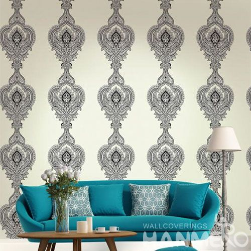 HANMERO Modern European Design Flocking Non-woven Wallpaper 0.53 * 10M for Room Decoration from China Factory Wallcovering Supplier