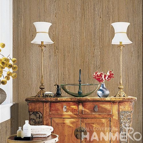 HANMERO Modern Style 0.53 * 10M Non-woven Wood Design Wallpaper Chinese Manufacture Household Room Wallcovering CE Certificate