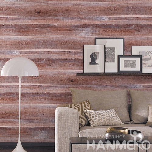 HANMERO China Modern Red Wood Design 0.53 * 10M Non-woven Wallpaper Room Wall Decor Wallcovering Wholesale Prices