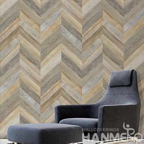 HANMERO Interior Room Decor Wallcovering Chinese 0.53 * 10M Non-woven 3D Wood Pattern Wallpaper High Quality