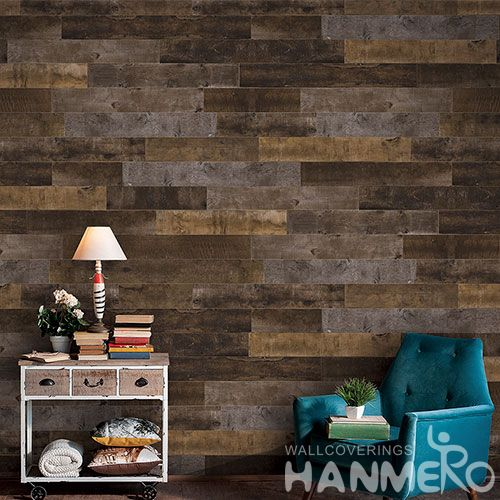 HANMERO Eco-friendly Home Decoration Wallcovering Non-woven Dark Brown Wood Design Wallpaper Wholesale Price